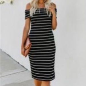 Vici Black and White Ribbed Off the Shoulder Dress